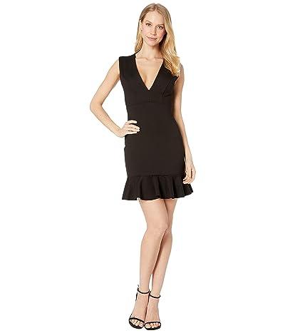 Susana Monaco Plunge Ruffle Hem Dress (Black) Women