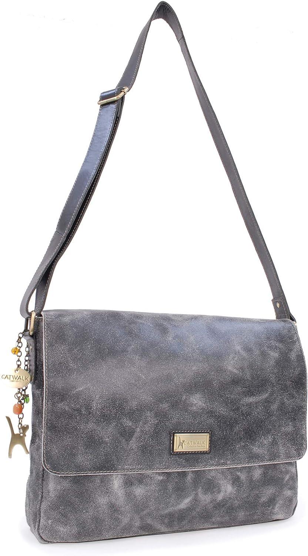 Catwalk Collection Handbags - Cuir Vintage Texture - Grand Sac Bandoulière/Besace/Sac Porté Croisé/Messenger pour Ordinateur Portable/iPad/Tablettes - Femme - SABINE L Noir