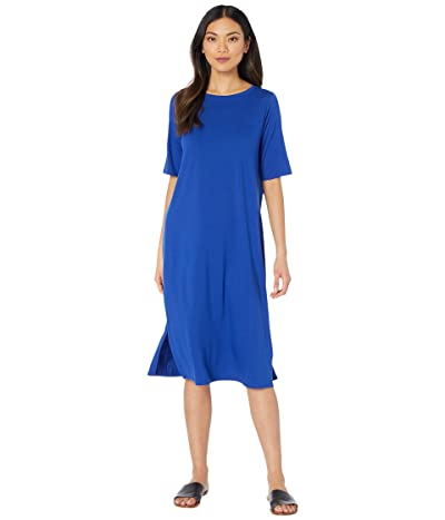 Eileen Fisher Round Neck Short Sleeve Dress (Royal) Women