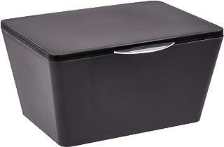 WENKO Boîte avec couvercle Brasil noir - Panier de rangement, panier de salle de bain avec couvercle, Plastique (TPE), 19 ...