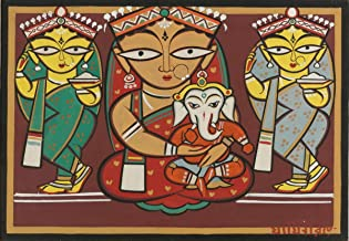 Berkin Arts Jamini Roy Giclee Canvas Print Paintings Poster Reproduction(Parvati and Ganesh with Attendants) #XFB