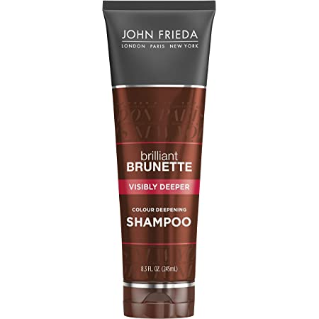 John Frieda Brilliant Brunette Visibly Deeper Color Deepening Shampoo, 8.3 Ounce, with Evening Primrose Oil, Infused with Cocoa