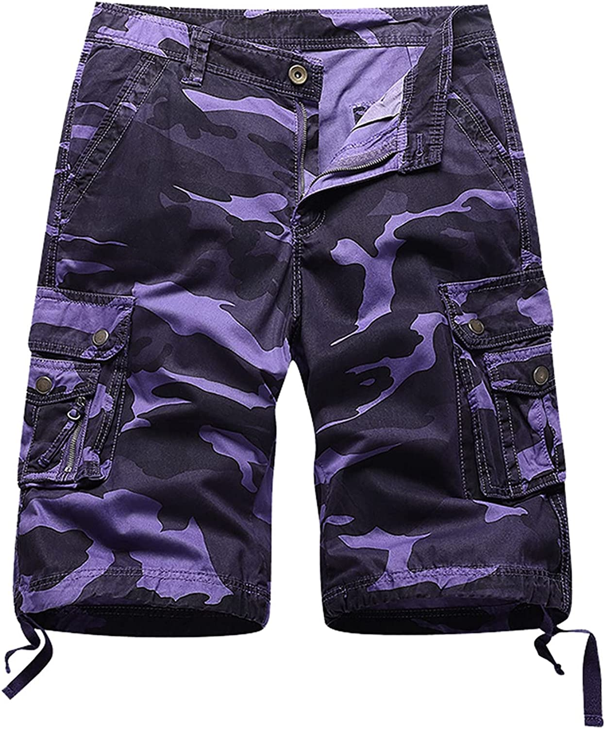 DXYDSC Men's Casual Multi Pockets Camouflage Relaxed Fit Straight Leg Cargo Shorts