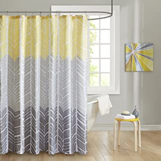 Intelligent Design Adel 100 Microfiber Printed Shower Curtain Yellow 72x72