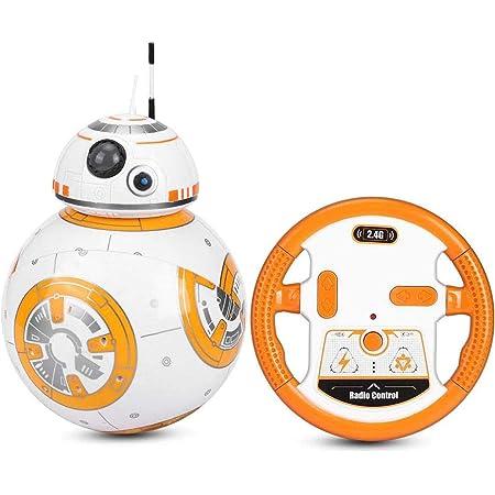 スターウォーズシリーズBB82.4Gリモートコントロール回転音と光の効果のおもちゃ、スターウォーズBB-8ヒーローロボットモデルの子供のおもちゃは
