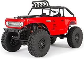 "Axial SCX24 1/24 Deadbolt RC Crawler 4WD Truck 8"" RTR with LED Lights, 3-Ch 2.4GHz Transmitter, Battery, and USB Charger: (Red) AXI90081T1"