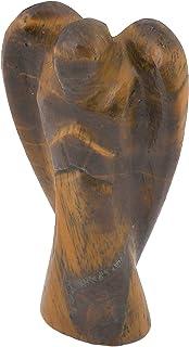 Crocon Tiger Eye Carved Angel Gemstone Healing Statues Guardian Peace Figurine For Chakra Balancing Reiki Healing Aura Cle...