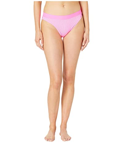 Luli Fama Luli Babe in Miami Striped Rib High Leg Banded Waist Bottoms (Pink) Women