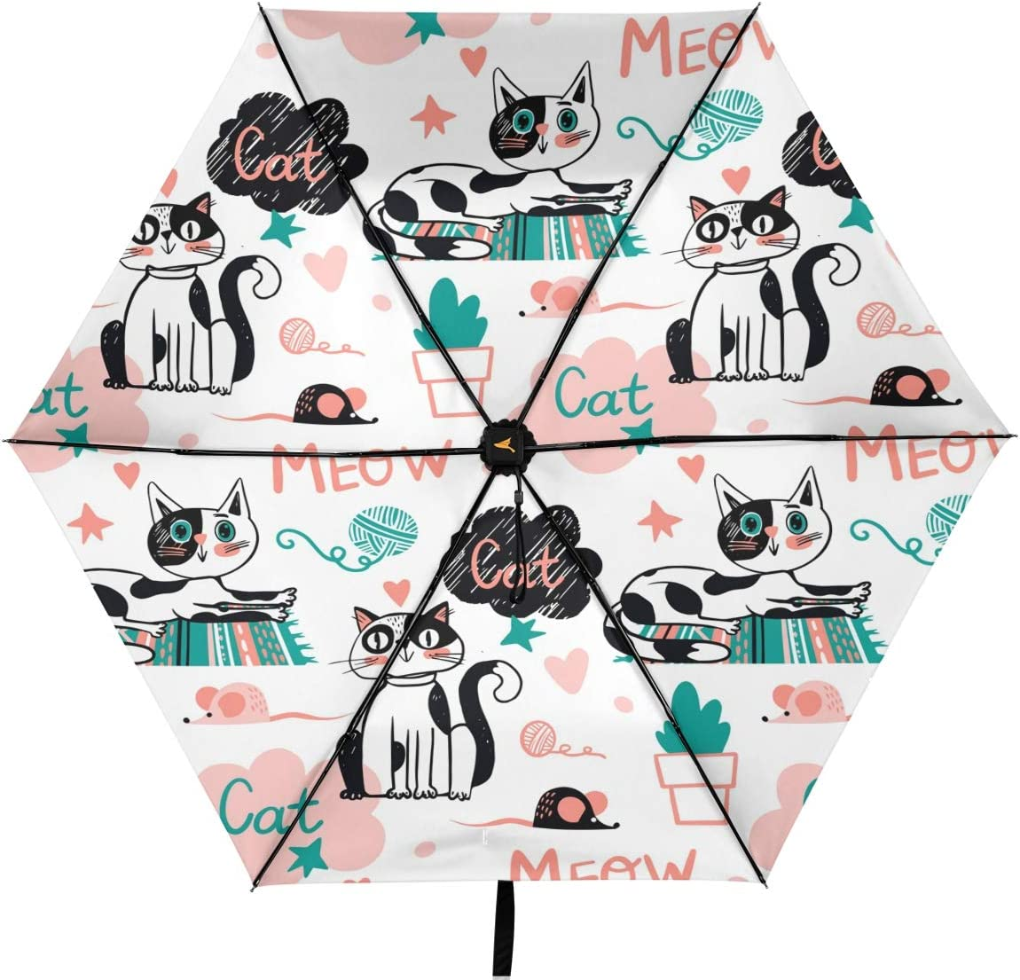Oakland Mall Cute Car Meow Parasol Compact Bombing free shipping Grade RainWind Nano Umbrella Rain