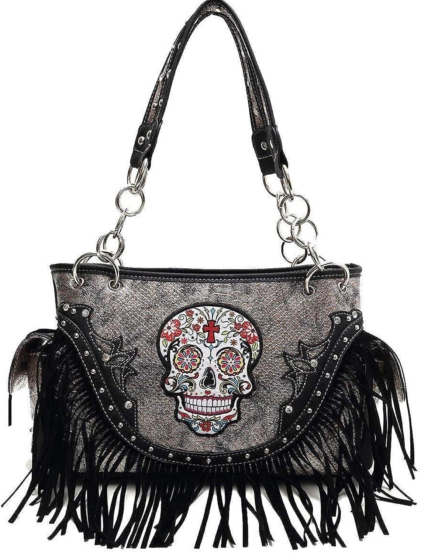 (B421)Sugar Skull With Fringe Concealed Gun Carrier Western HandbagSKU68469F (Black)