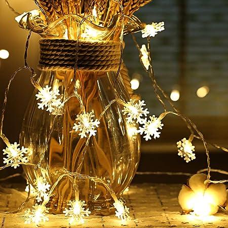 Guirlande lumineuse de flocon de neige, 6M 40 Pcs LED à piles fairy lights, Monochrom à deux modes et décoration brillante foudre pour,Noël Chambre Chambre intérieure et extérieure (blanc chaud)