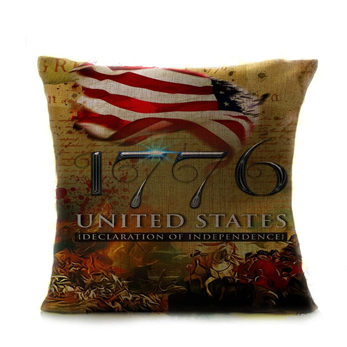 Vithconl Festival American Flag Print Pillow Covers, Independence Day American Flag 100% Cotton Pillow Case, Happy 4th of July, 18x18 Inch