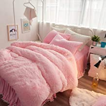 Uozzi Bedding Luxury Plush Shaggy Flannel 3 PC Duvet Cover Set (1 Faux Fur Duvet Cover + 2 Quilted Pillow Shams) Solid,No Inside Filler,Zipper Closure Warm and Soft for Winter (Pink,Twin)