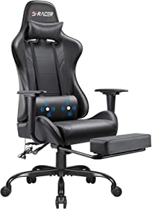 Homall Gaming Chair Computer Office Chair Ergonomic Desk Chair with Footrest Racing Executive Swivel Chair Adjustable Rolling Task Chair (Black)