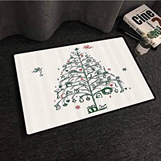 Christmas Decorations Thin Door mat Fairies with Wands and Chirstmas Tree Hand Drawn Style with Wreath and Stockings with Anti-Slip Support W30 xL39 Red Green