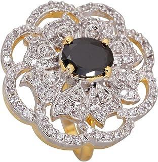 خاتم Cz ستون أسود اللون من Cz Stone للنساء من Crunchy Fashion Indian Jewelry Royal Affair