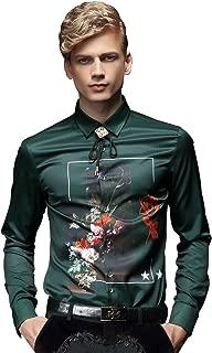 Men Green Shirt Long Sleeve Slim Fit Wrinkle Free Fashion Design