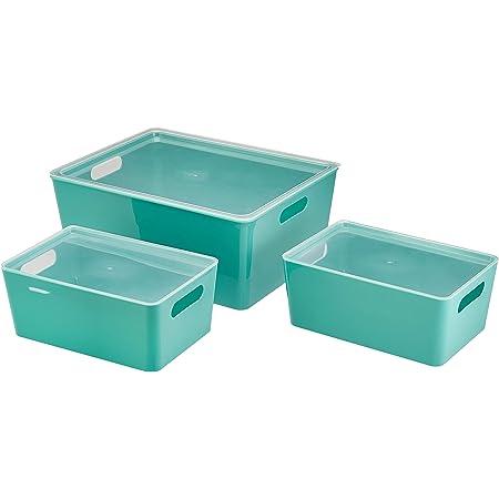 Amazon Basics Boîtes de conservation en plastique pour la cuisine Ensemble de 3