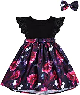 Baby Girls Cotton Romper Swing Dress Floral Print Lace for Little Sister and Big Sister