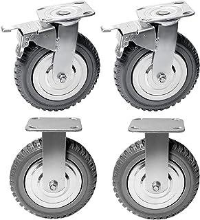 """2/"""" Swivel Caster Wheels w//Brake 5//8 Threaded Stem Black Set 4"""