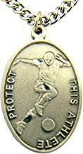 WJH Mens Soccer Saint Sebastian Pewter Medal on 24 Continuous Chain, Double-Sided Medal