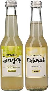 KOMBUTXA TE KOMBUCHA BEBIDA ECOLOGICA - Pack 2x275ml te fermentado bio organico bebida energetica sin azucar añadido quemagrasas (Pack 1ud Ginger + 1ud Natural)