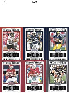 2019 Panini Contenders Season Tickets Complete Hand Collated NCAA Football Set of 100 Cards - Includes cards of NFL Superstars Alvin Kamara, Tom Brady, Aaron Rodgers, Peyton Manning, Saquon Barkley, Patrick Mahomes, and Josh Allen. Free shipping from my store to the United States if you purchase 25.00 or more.