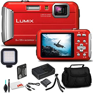 Panasonic Lumix DMC-TS30 Digital Camera (Red) (DMC-TS30R) - Bundle - with LED Video Light + Soft Bag + 12 Inch Flexible Tr...