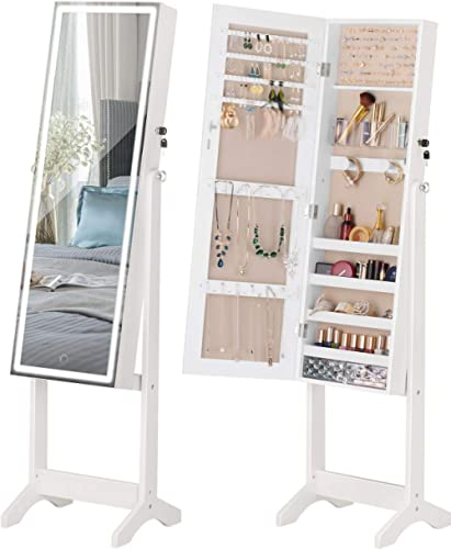 LUXFURNI LED Light Jewellery Cabinet Standing full Screen Mirror Makeup Lockable Armoire, Large Cosmetic Storage Orga...