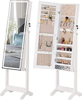 LUXFURNI LED Light Jewellery Cabinet Standing full Screen Mirror Makeup Lockable Armoire, Large Cosmetic Storage Organizer...