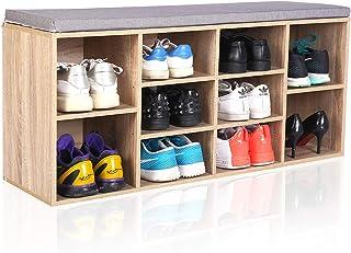 MAIMAITI Zapatero con Asiento Banco ,Asientos Acolchado para , con cojín Estantería para Zapatos 10 Huecos(103,5/29,5/48 cm) (Madera)