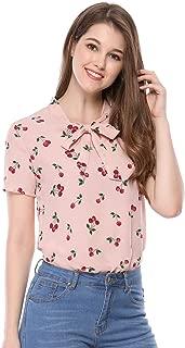 Allegra K Women's Short Sleeve Tie Bow Neck Cherry Printed Blouse