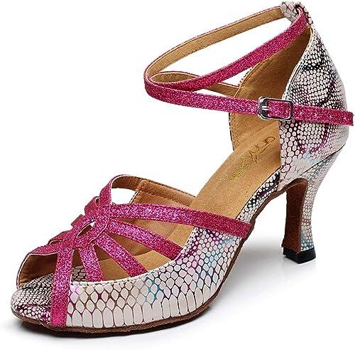 XIAOY Intérieur Chaussures de Danse pour Femmes Latine Talons Hauts PU Cross Sangle Cheville Cuir Taille 9