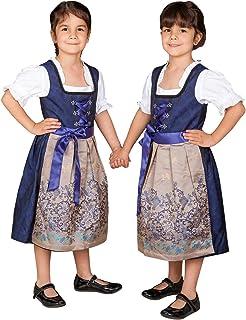 Edelnice Trachtenmode Kinder Dirndl Royalblau Gold 3-TLG. inkl. Bluse und Schürze