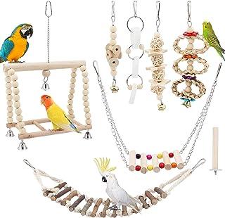 TAECOOOL Lot de 8 jouets à mâcher en bois naturel pour perroquet, clochette à suspendre, balançoire pour cage à oiseaux, c...