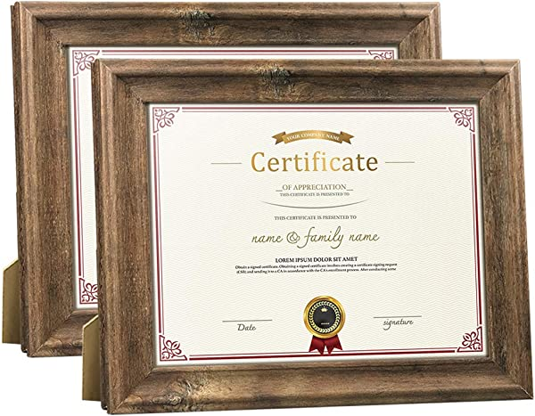 Dreamyard 2 Pack 8 5x11 Document Picture Frames Set Brown Wood Diploma Certificate Award Photo Frame For Tabletop Stand Or Wall Hanging