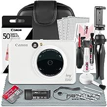 Canon Ivy CLIQ+ Instant Camera Printer (Pearl White) + 60 Sheets Photo Paper + 32GB SD Card + Case + Deluxe Accessories Bundle (USA Warranty)