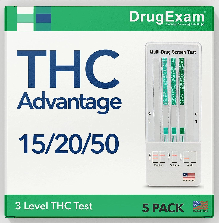 5 Pack - DrugExam THC Advantage Made in USA Multi Level Marijuana Home Urine Test Kit.Highly Sensitive THC 3 Level Drug Test Kit. Detects at 50 ng/mL, 20 ng/mL, 15 ng/mL (5)