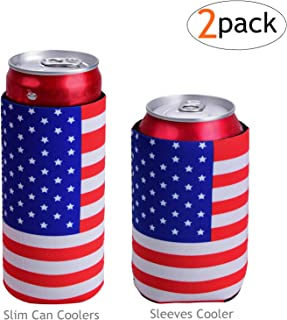 Tailpa Slim Can Coolers for Slim Can +Can Cooler Sleeves for Standard 12oz Can, Collapsible Neoprene Insulated Drink Cooler Coolies Cover Holder Can Coozies USA Flag Perfectly (2 Pack)