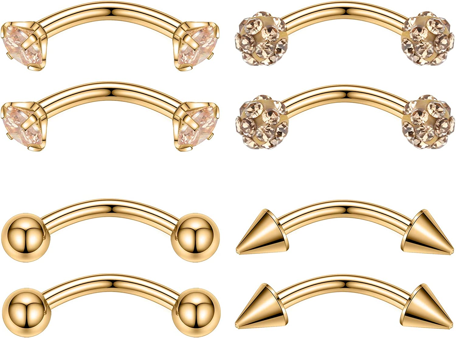 GAGABODY Credence 16G 8mm Eyebrow Daith Outstanding Rook Spark Earrings Gem Prong Set