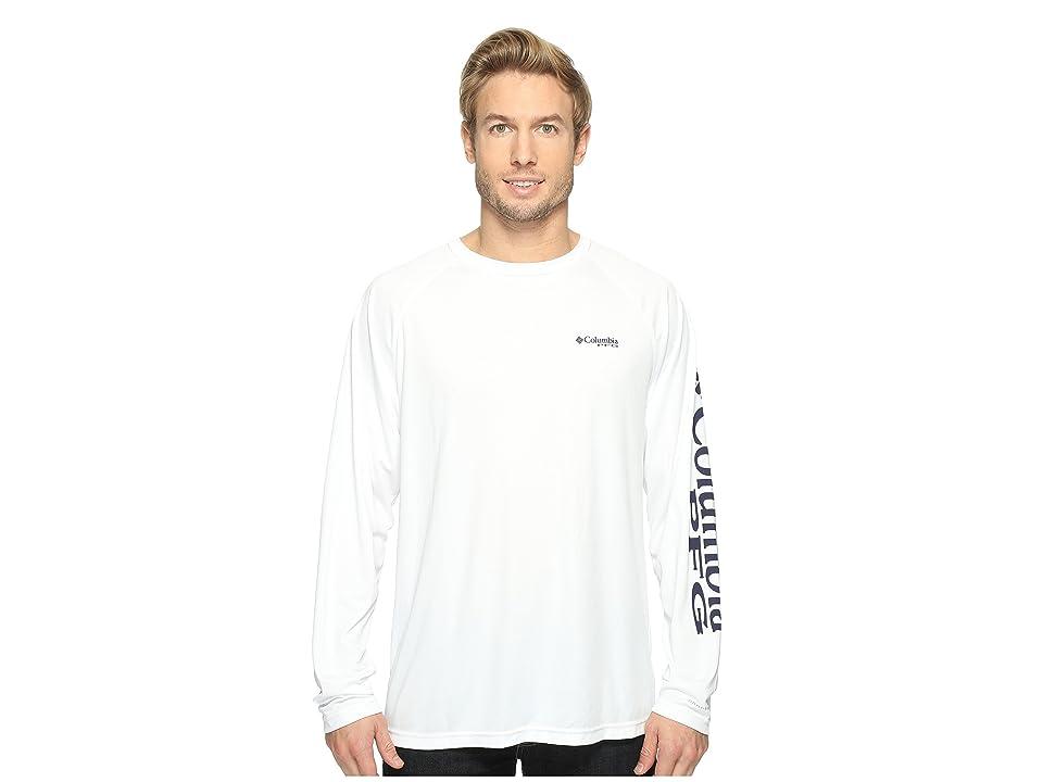 Columbia Terminal Tackletm L/S Shirt (White/Nightshade Logo) Men