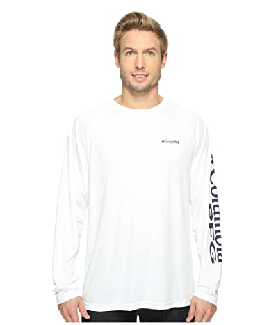 Columbia Terminal Tackletm L/S Shirt (White/Nightshade Logo) Men