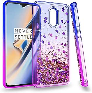 ZingCon Oneplus 6T Phone Case,Glitter Quicksand Adorable Shine Case,Shockproof Hybrid Hard PC Soft TPU Protective Cover-Blue/Purple