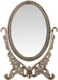 LEJU Makeup Vanity Mirror Decoration Mirrors Framed Mirror Vintage Rose Vintage Set Tabletop Two-Sided Rotatable Ellipse 6-inch (Ellipse)