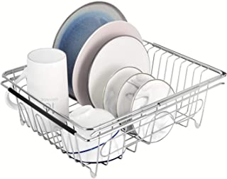 DECLUTTR Expandable Dish Drying Rack, Kitchen Drain Rack for Drying Dishes, Vegetable and Fruit, Over The Sink, in Sink Or On Countertop Dish Drainer, Stainless Steel