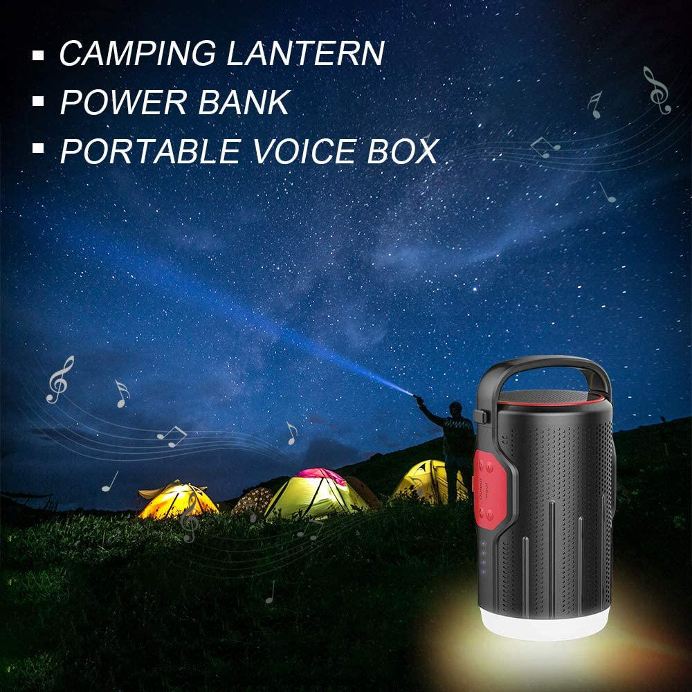 Bluetooth Speakers, Small Wireless Outdoor Travel Speaker with Portable Silicone Handle, 10400mAh Rechargeable Flashlight Lantern