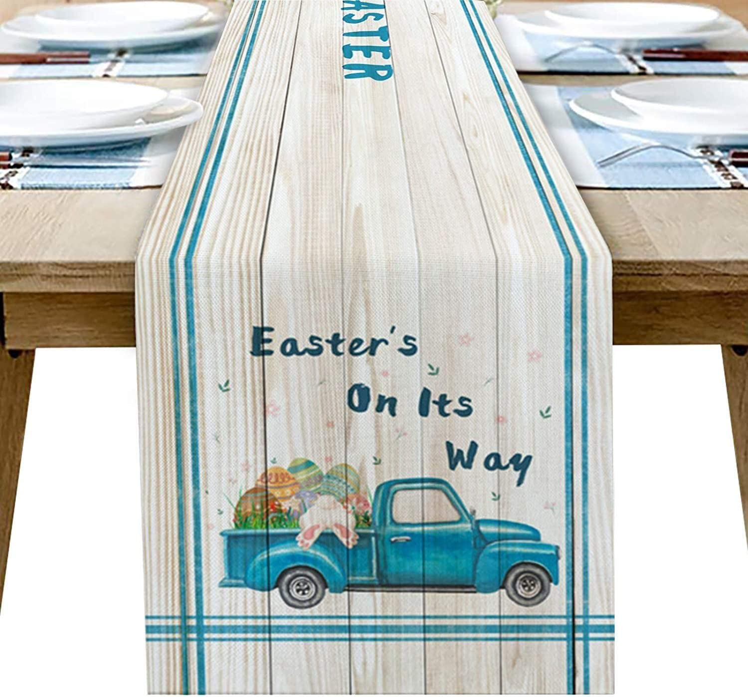 Easter latest Table Runner Rabbit Eggs Doub Colorful Decorations Courier shipping free
