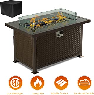 Aoxun Outdoor Propane Fire Pit Table - 43 Inch 50,000 BTU Gas Fire Pit Table for Garden,Courtyard, Balcony, Terrace and Barbecue w/Glass Wind Guard, Clear Glass Rocks - Brown