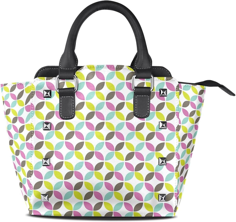 My Little Nest Women's Top Handle Satchel Handbag Retro Geometric Circle Ladies PU Leather Shoulder Bag Crossbody Bag