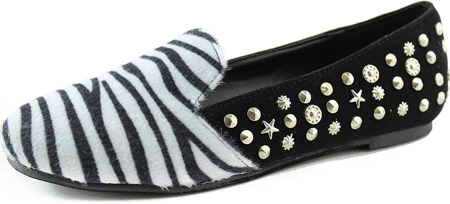 Nature Breeze Women's Sexy Fashion Comfortable Star Studs Ballet Oxfords Loafers Slip On Sandal Lady shoes, Zebra, 7